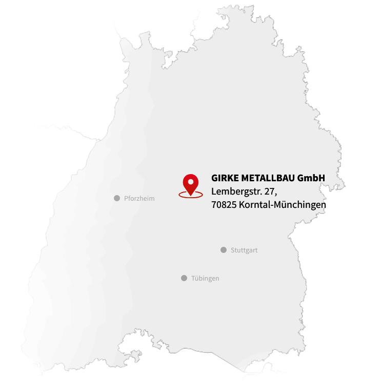 Landkarte mit Standort